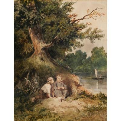 École FRANÇAISE romantique, circa 1830 - 1840, Deux enfants au bord d'une rivière
