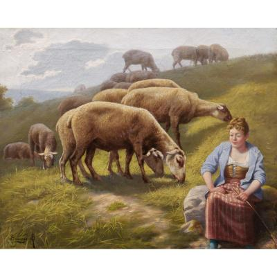 Arsène-symphorien Sauvage, Shepherdess And Sheep