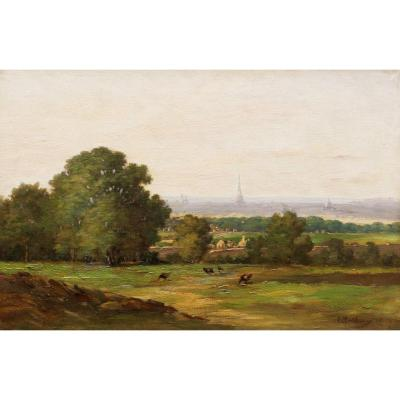 Attributed To Auguste Mathieu, View Of Paris From The Parc De Saint-cloud