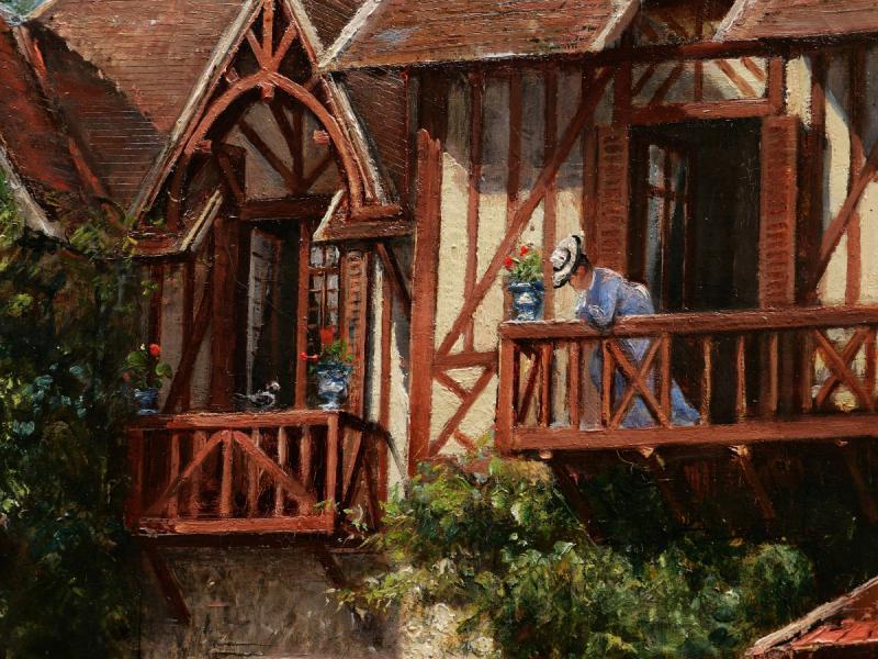 École FRANÇAISE fin XIXème siècle, Femme, nourrice et enfant devant une maison normande-photo-2