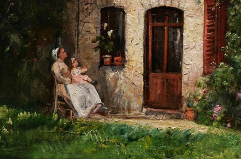 École FRANÇAISE fin XIXème siècle, Femme, nourrice et enfant devant une maison normande-photo-3