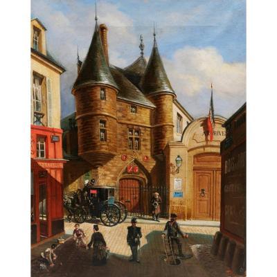 E. GIRSELS, Vue animée de la rue des Archives