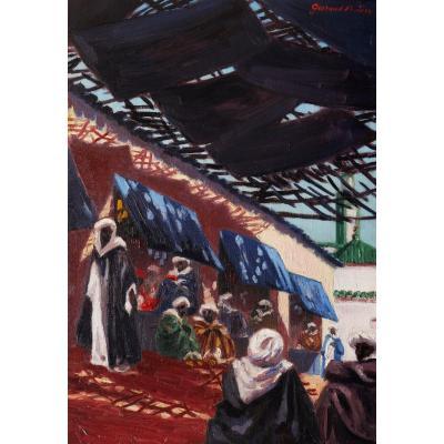Maurice GUIRAUD-RIVIÈRE, Scène de souk à Fès au Maroc