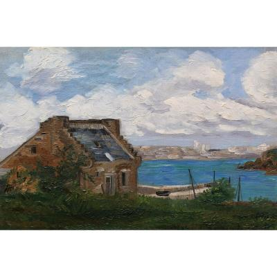 Attribué à Maurice CHABAS, Paysage de Bretagne en bord de mer