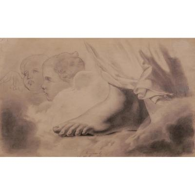 Jacques Joseph Maquart, Study Of A Foot And Two Heads Of Angels