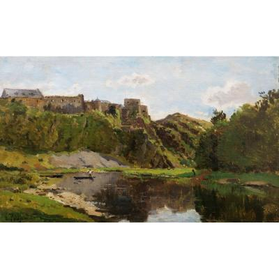 Edmond Marie PETITJEAN, Vue présumée de Parthenay ou d'un village sur la Dordogne