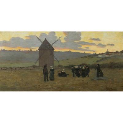 École FRANÇAISE de la seconde moitié du XIXème siècle, Danse bretonne au coucher du soleil