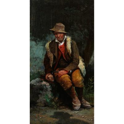 Attribué à Giuseppe SIGNORINI, Paysan ou berger italien assis dans la forêt