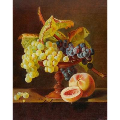 Noémi FORTOUL, Nature morte à la coupe de raisin et aux pêches