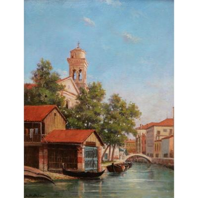 A. ou L. MATHIEU, Vue d'un canal à Venise avec un garage à gondoles
