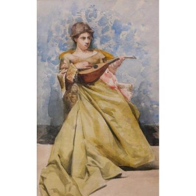 Armel de BLOQUEL de CROIX, baron de WISMES, Jeune femme à la mandoline
