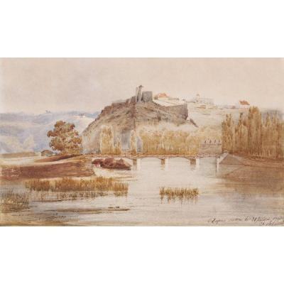 French School In 1843, Landscape With A Fortified Village Overlooking A River