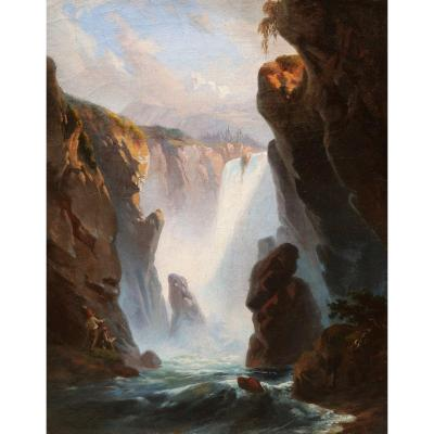 Attributed To Jean Charles Joseph RÉmond, Painter By A Waterfall In Italy