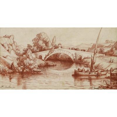 ÉCOLE FRANÇAISE ou ITALIENNE fin XVIIIème – début XIXème siècle, Paysage animé
