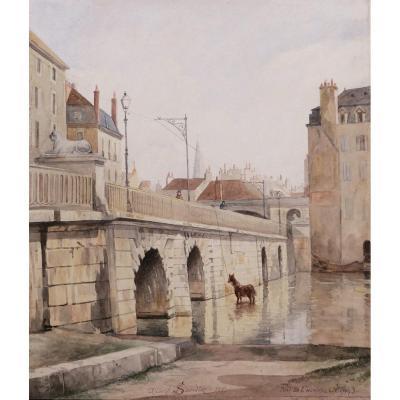 Albert SANDIER, Le Pont de l'Hôpital à Dijon