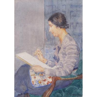 Paul GRÉGOIRE, Portrait de Mme Grégoire en train de peindre