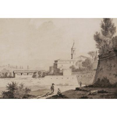 École FRANÇAISE début XIXème siècle, Vue animée à Rome: personnages, église et remparts