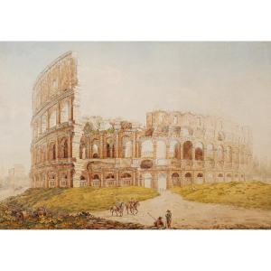 École ITALIENNE du XIXème siècle, Vue animée devant le Colisée