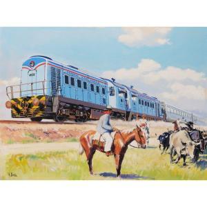 Yves DELFO,  Le train de la General San Martín et deux gauchos dans la campagne argentine