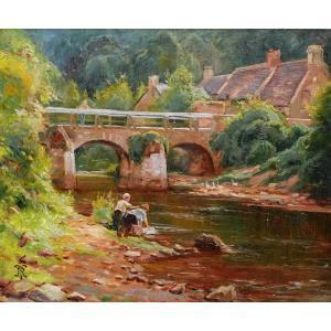 École FRANÇAISE circa 1900, Le Pont Lovignon ou Pont Fleuri à Quimperlé