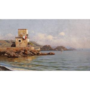 Attribué à Roberto MARESCA, Paysage de bord de mer en Italie