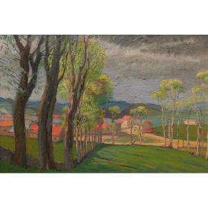 Gustave POETZSCH, Paysage près de la maison du peintre à Yssingeaux
