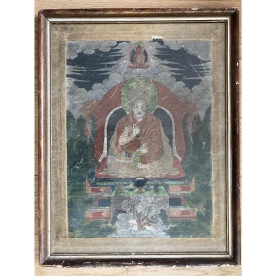 Thangka Représentant Le Troisième Panchen Lama, Lobsang Palden Yeshe (1738-1780), Tibet, XIX.