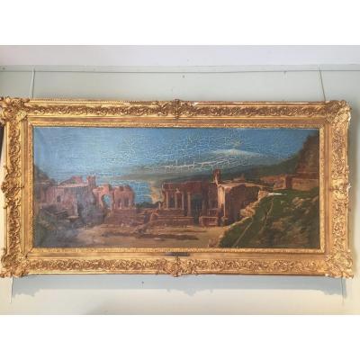 Grande  vue de ruines à Taormina