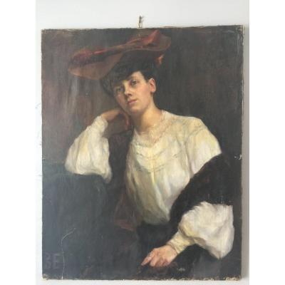 Grand Portrait De Femme Vers 1900