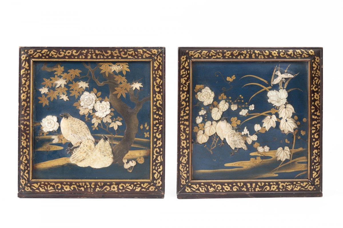 Deux Panneaux Laque Japonais XIXe Shibayama