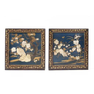 Two Japanese Panels Shibayama XIXth