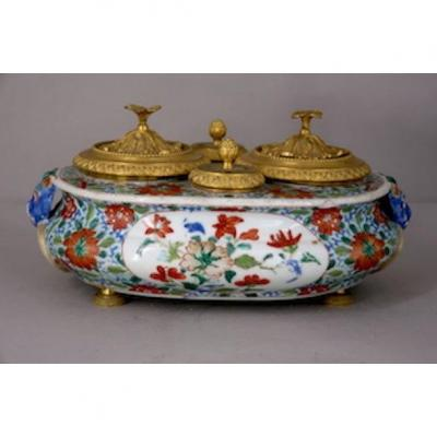 Encrier porcelaine Chine Famille verte
