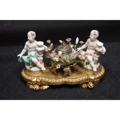 Encrier porcelaine XVIII ème siècle