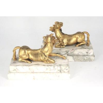 Paire de chevaux en bronze doré XVIII° siècle