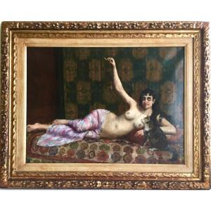 """""""odalisque Playing With A Cat"""" Ulysse Lequien"""