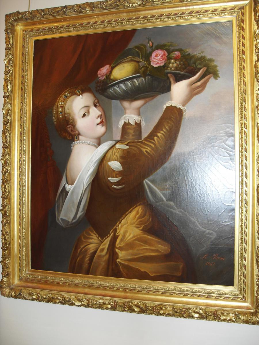 Tableau : Jeune femme à la coupe de fruits