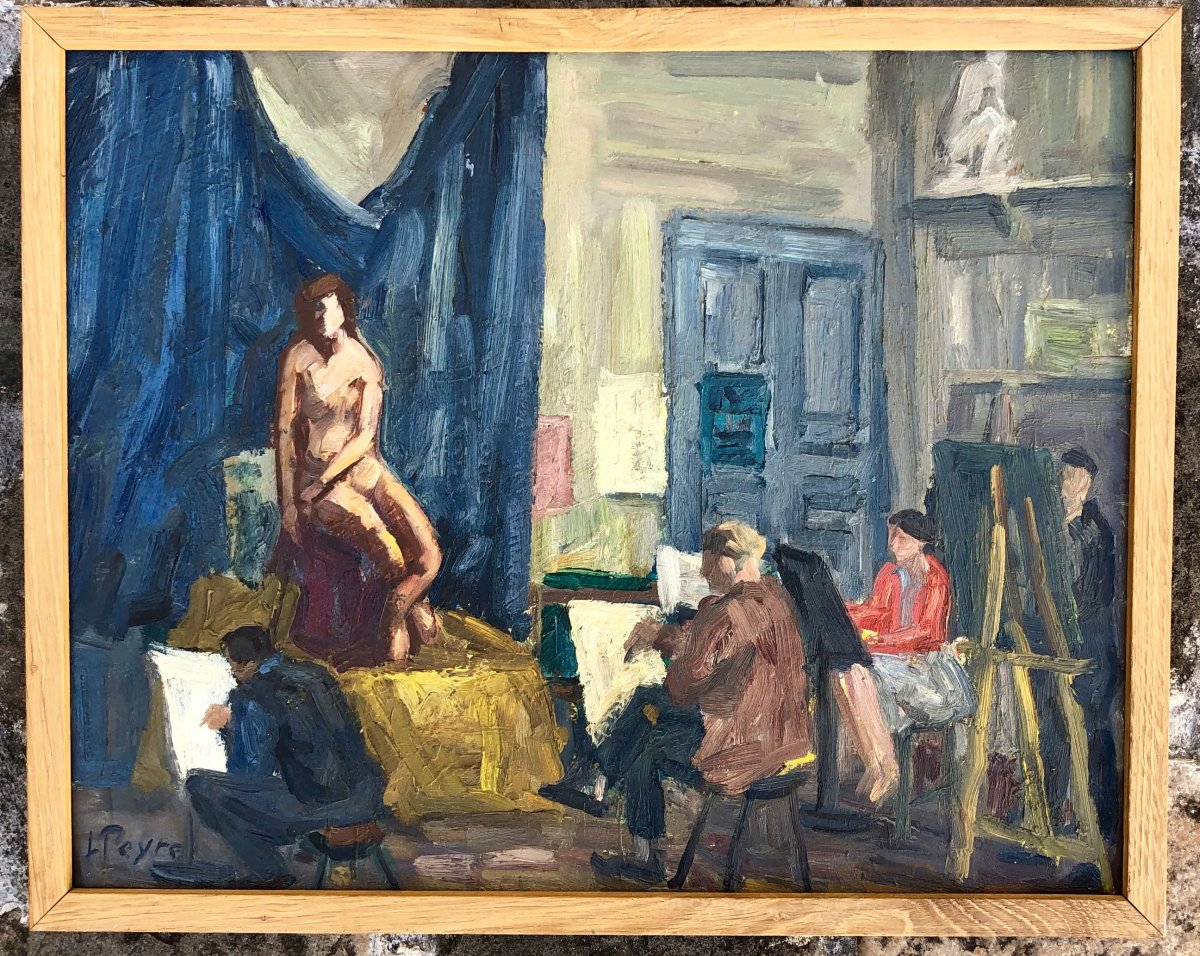 Louis Peyré. The Model Sitting At The Workshop