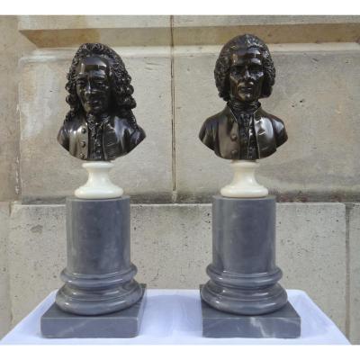 Sculpture :Paire De Bustes En Bronze : Voltaire Et Rousseau