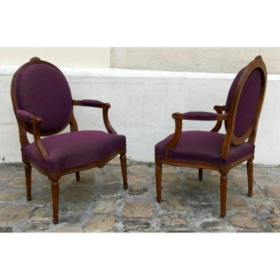 Pair Of Cabriolets Louis XVI Armchairs