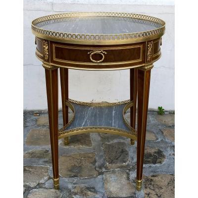 Louis XVI Pedestal Table, Signed Durand