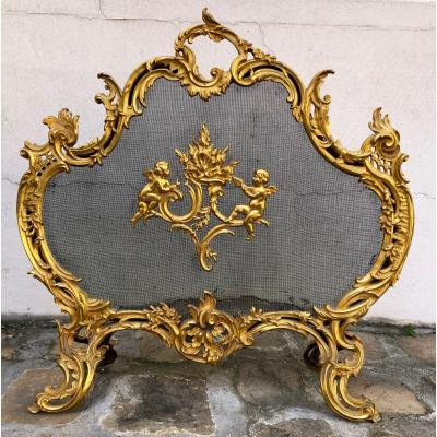 Pare  Feu Louis  XV, En Bronze Doré