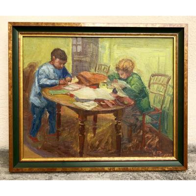 Louis Peyré. Oil On Wood . Evening Homework