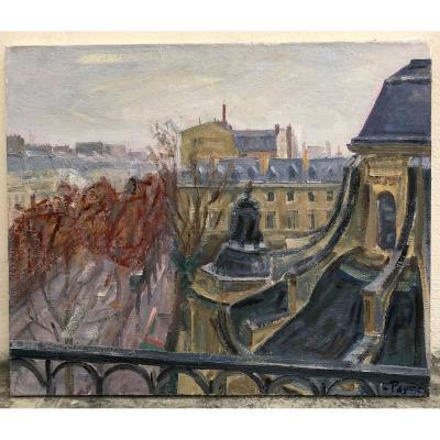 Louis Peyré. Oil On Canvas . View On Boulevard Saint-germain