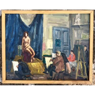 Louis Peyré . Le Modèle Assis à l'Atelier