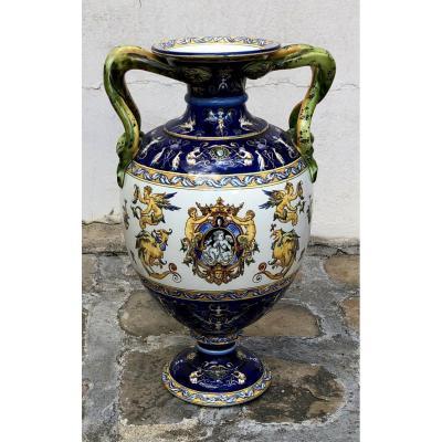 Grand Vase d'Apparat En Faïence De Gien