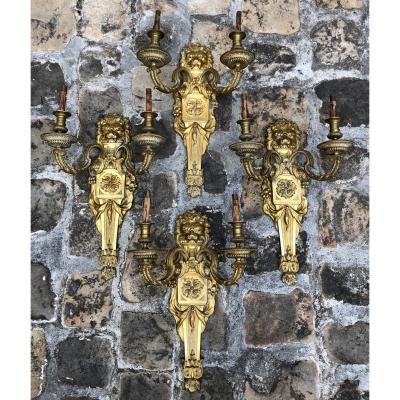 Quatre Appliques Louis XIV, En Bronze