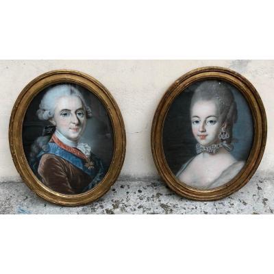 Paire De Portraits Au Pastel. Louis XVI Et Marie-antoinette
