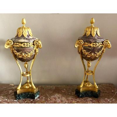 Paire De Vases En Athénienne Louis XVI