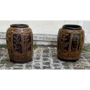 Paire De Grands Vases Asiatiques