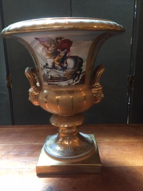 Grand Vase Doré Medicis Porcelaine19ème